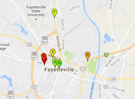 Google Maps Fayetteville attractions